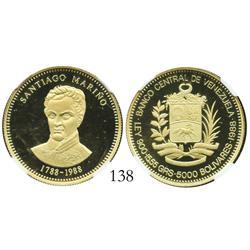 Venezuela, proof 5000 Bolivares, 1988, Marino Bicentennial, encapsulated NGC PF-69 Ultra Cameo.