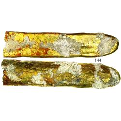 """Gold """"finger"""" bar #45, 668 grams, 17-1/4K."""