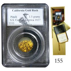 Pinch of gold dust (1.5 grams), officially encapsulated by Collectors Universe, with wooden presenta