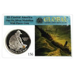 Gold nugget embedded in a 1-oz. Proof silver medal, officially encapsulated by Global Certification