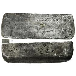 Large silver bar #757, 86 lb 11.2 oz troy, 2380/2400 fine, Class Factor 0.8.