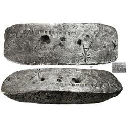Large silver bar #604, 87 lb 2.3 oz troy, 2380/2400 fine, Class Factor 0.8.