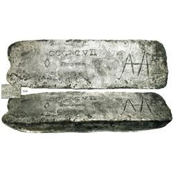 Small silver bar #820, 39 lb 10.08 oz troy, 2360/2400 fine, Class Factor 0.9.