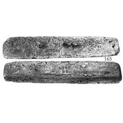 "Silver ""barreton"" #863, 17 lb 9.76 oz troy, 2370/2400 fine, Class Factor 0.6."