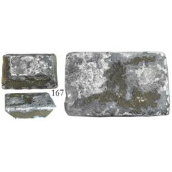 Small (molded) silver ingot (contraband) wrapped in pewter, 43.57 oz troy.