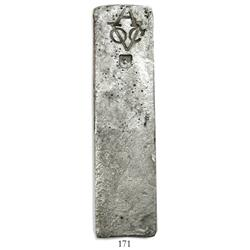 Neatly formed silver ingot, 1901 grams, about 98.5% fine, with stamps of the Amsterdam chamber of th