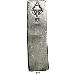 Neatly formed silver ingot, 1966 grams, about 98.5% fine, with stamps of the Amsterdam chamber of th