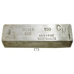 Silver brick, 100 oz troy, 99.9% fine, stamped USS CONSTITUTION.