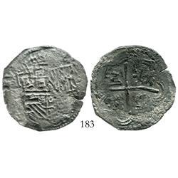 Potosi, Bolivia, cob 4 reales, Philip II, assayer not visible.