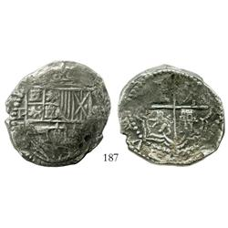 Potosi, Bolivia, cob 8 reales, Philip II, assayer B (5th period), Grade 2, original certificate and