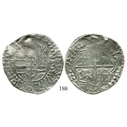 Potosi, Bolivia, cob 8 reales, Philip III, assayer R (curved leg), Grade-1 quality (certificate miss