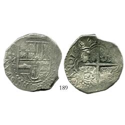 Potosi, Bolivia, cob 8 reales, 1617M, choice full date, rotated castles in cross, Grade 1.