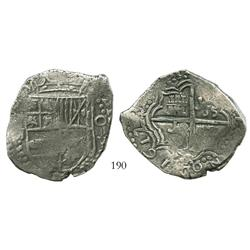 Potosi, Bolivia, cob 8 reales, 1617M, bold date at 7 o'clock, denomination as O-III-V, Grade 1.