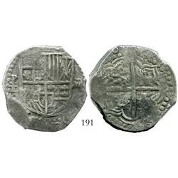 Potosi, Bolivia, cob 8 reales, (161)8T, quadrants of cross transposed, Grade-1 quality (certificate