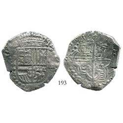 Potosi, Bolivia, cob 8 reales, 1619T, full date, Grade 1.