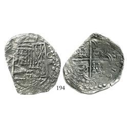 Potosi, Bolivia, cob 8 reales, 1620T, bold date at 5 o'clock, Grade 2.