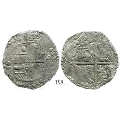 "Potosi, Bolivia, cob 8 reales, Philip III, assayer T, full ""Z"" of date visible, quadrants of cross t"