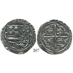 Potosi, Bolivia, cob 4 reales, Philip II, assayer L, scarce, Grade 1.