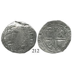 Potosi, Bolivia, cob 2 reales, Philip II, assayer B (3rd period), Grade-1 quality (certificate missi