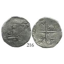 Potosi, Bolivia, cob 2 reales, Philip III, assayer C/Q (scarce), Grade-1 quality (certificate missin