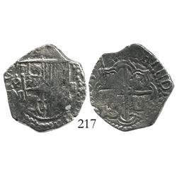 Potosi, Bolivia, cob 2 reales, 1617M, Grade 1.