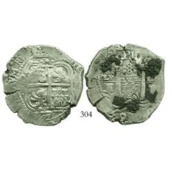Potosi, Bolivia, cob 8 reales, 1655E, PH at top.