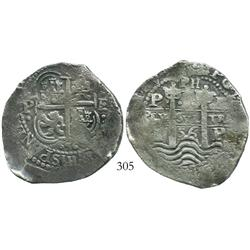 Potosi, Bolivia, cob 8 reales, 1656E, PH at top.