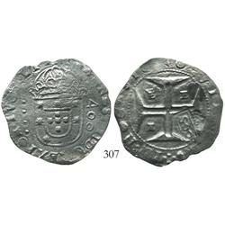 "Brazil, 500 reis (""S00"" countermark of 1663 on Evora, Portugal, 400 reis of John IV), rare."