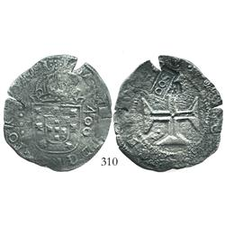 "Brazil, 500 reis (""S00"" countermark of 1663 on Lisbon, Portugal, 400 reis of John IV)."