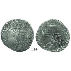 "Brazil, 250 reis (""2S0"" countermarks of 1663 on Lisbon, Portugal, 200 reis of John IV), rare with mu"