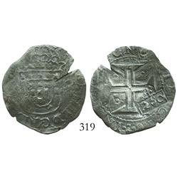 "Brazil, 250 reis (""2S0"" countermark of 1663 on Lisbon, Portugal, 200 reis of John IV)."