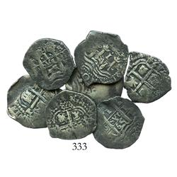 Lot of 7 Potosi cob 1R of Philip IV, assayer E (dated 1654, 1655, 1656, 1657, 1663, 1664 and 1665).