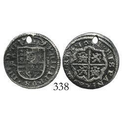 Segovia, Spain, milled 1 real, 1652BR, holed.