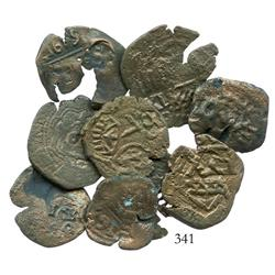 Lot of 9 Spanish countermarked copper coins (1600s).