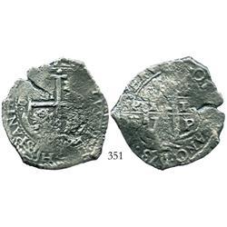 Potosi, Bolivia, cob 8 reales, 1673E.