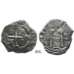 Potosi, Bolivia, cob 4 reales, 1677E.