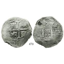 Lima, Peru, cob 8 reales, 1687R, choice.