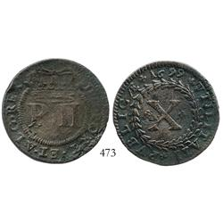 Portugal, copper X reis, Pedro II, 1699, very rare as from this wreck.
