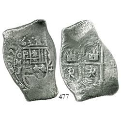 Mexico City, Mexico, cob 8 reales, 171(2-3?)J, double-struck cross side (scarce for this issue).