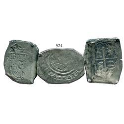 Lot of 3 Mexico City, Mexico, cob 8 reales, Philip V, assayer J where visible, nice quality.