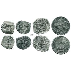 Type-set of Mexico City, Mexico, 8 reales dated 1733, consisting of 1 cob, 1 klippe on a cob-style p