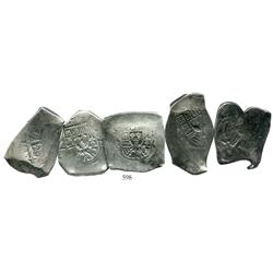 Lot of 5 Mexico City, Mexico, cob 8 reales, Philip V, assayer R where visible, average specimens.