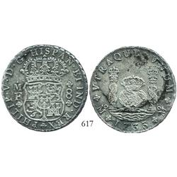 Mexico City, Mexico, pillar 8 reales, Philip V, 1733MF, rare.