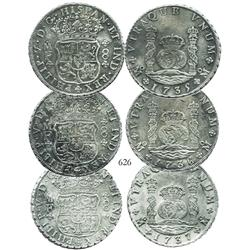 Lot of 3 Mexico City, Mexico, pillar 8 reales, Philip V, dated 1735-37 (one of each date), assayer M
