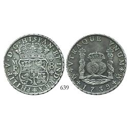 Mexico City, Mexico, pillar 8 reales, Philip V, 1739MF, choice.