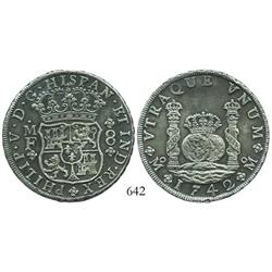 Mexico City, Mexico, pillar 8 reales, Philip V, 1742MF, very choice.