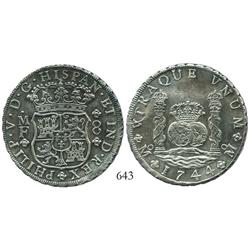 Mexico City, Mexico, pillar 8 reales, Philip V, 1744MF, choice.