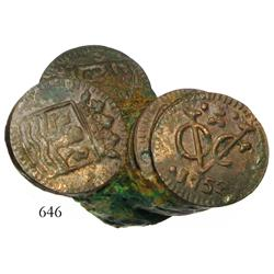 Cleaned clump of over a dozen Dutch East India Company (VOC) copper duits.