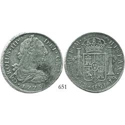 Mexico City, Mexico, bust 8 reales, Charles III, 1775FM, rare provenance.
