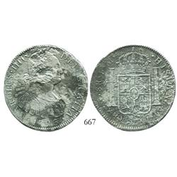 Mexico City, Mexico, bust 8 reales, Charles IV, 1796FM, very rare provenance.